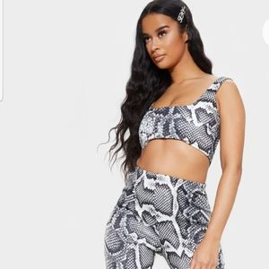 Pretty Little Thing Grey Snake Print Crop Top